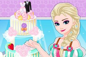 爱莎制作婚礼蛋糕